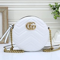 GUCCI Women Fashion Round Leather Chain Crossbody Shoulder Bag