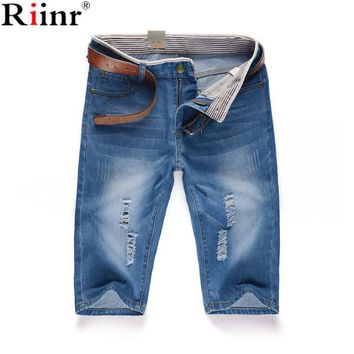 Riinr 2017 Brand New Arrival Men's Denim Shorts Fashion Quality Knee Length Summer Style Thin Casual Mens Bermuda Cargo Shorts