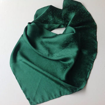Emerald Silk scarf, Chemo Headscarf,  Birthday gift Aunt, Gift for Coworker, Green Jacquard scarf, Neckerchief,  Green Silk scarf for Him