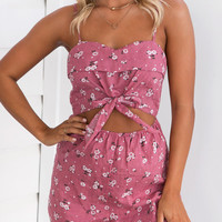 Peach Floral Print Tie Front Open Belly Cami Romper Playsuit