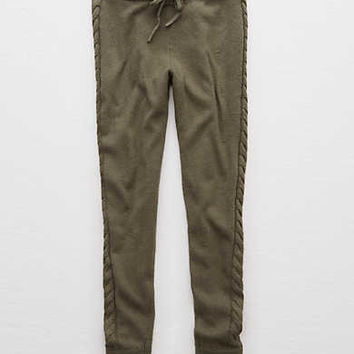 Aerie Cable Sweater Jogger, Camo Green