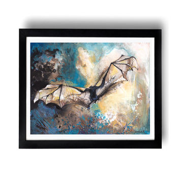 Icarus, 11x14, mixed media painting, watercolour painting, fine art, bat image, bat print, bat painting,  bedroom wall art, nature art