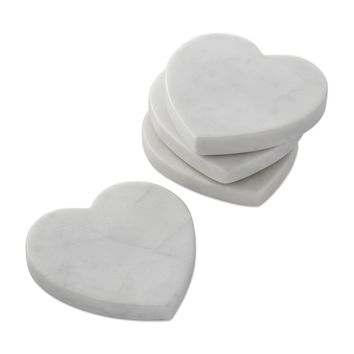 White Marble Heart Coasters, Set of 4