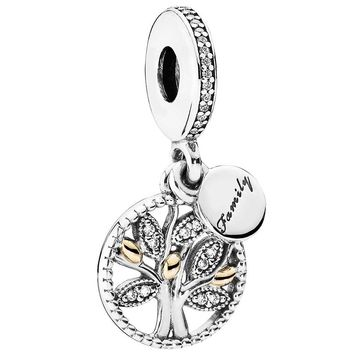 Pandora Family Heritage Dangle Family Tree 14K Gold Sterling CZ Genuine Designer Bracelet Charm