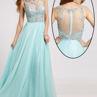 Sheer Neckline Chiffon Dress 80862 - Prom Dresses