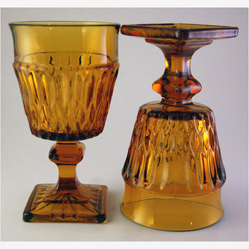 Mount Vernon Pattern Amber Glass Goblet Pair by Indiana Glass Company