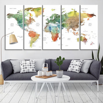 16385 - Large Wall Art World Map Canvas Print- Custom World Map Push Pin Wall Art- Custom World Map Canvas Poster Print- Personalized Wall Art