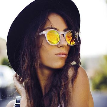Retro P3 Round Mirrored Lens Colorful Sunglasses