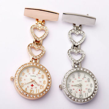 Fashion Full Crystal Dial Steel Nurses Pin FOB Watch Clip-on Heart-shaped Hanging Brooch Round Pocket Watch Men Women Hour Clock