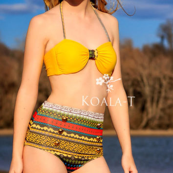 Yellow Aztec High Waist Bikini! LIMITED EDITION!