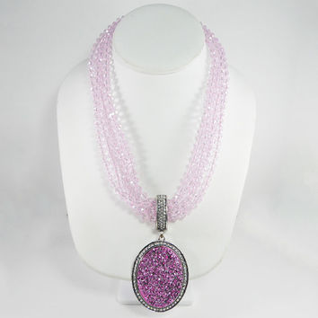 Joan Rivers Pink Crystal Bead Necklace with Oval Pink Crystal Rhinestones Vintage 1990s Signed Joan Rivers Jewelry, Original Box & Dust Bag