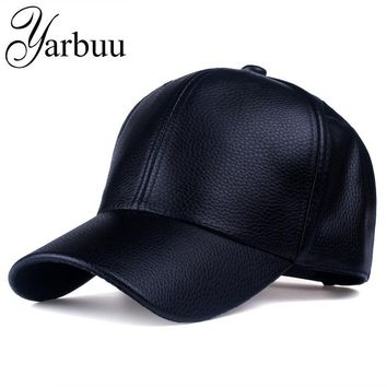 Trendy Winter Jacket [YARBUU] CAP 2017 new Hot and winter PU Leather Baseball Cap Biker Trucker snapback Hats For Men women caps   AT_92_12