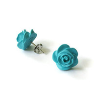 Green Rose, Peppermint, Turquoise Earring, Rose Earrings, Polymer Clay Earrings, Polymer Clay Jewelry, Flower Cabochon, Cabochon Earrings