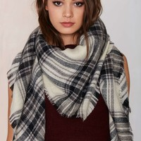 Willow Plaid Blanket Scarf - Black/Cream
