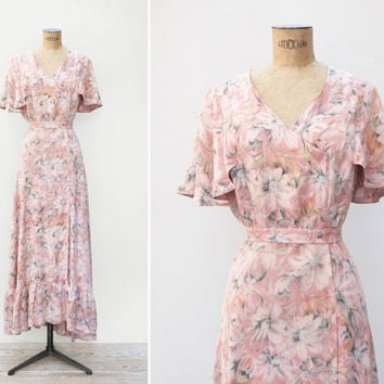 1930s Dress - Vintage 30s Pink Floral Gown - Sentimental Mood Dress