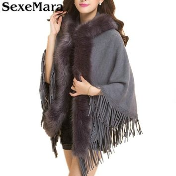 Womens Capes and Ponchos 2016 Autumn Winter Women Plus Size Hooded Fur Collar Poncho Coat Knitted Cardigan Sweater MY16