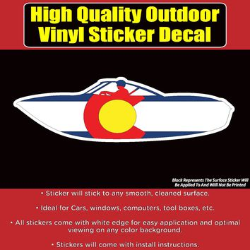 Colorado Flag Speed Boat Vinyl Car Window Laptop Bumper Sticker Decal