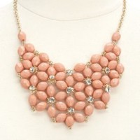Bead & Rhinestone Flower Bib Necklace by Charlotte Russe - Gold