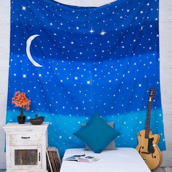 Crescent Blue Moon Tapestries ,Galaxy tapestry,Star tapestry ,Psychedelic Space tapestry ,Tapestry wall Hanging , Sky constellation tapestry