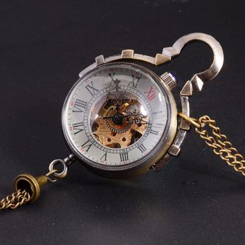 Antique Mechanical Pocket Watch Chain Small Ball Design Bronze Steampunk Skeleton Pocket & Fob Watch Gold Necklace Relogio