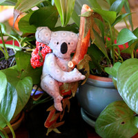 """Fabric soft sculpture Koalas with Kara and Lil Kassia dimensions are 10"""" x 4.5""""x 3"""" thick"""