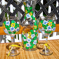 Painted Wine Glasses and Carafe With Flowers