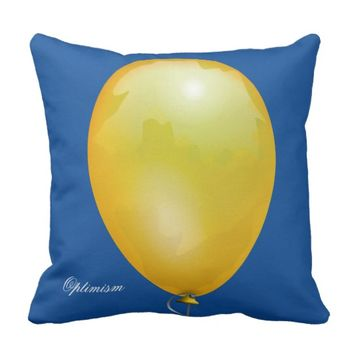 Yellow toy balloon funny unique throw pillow