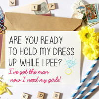 Funny Bridesmaid Card, Asking, Proposal, Will You Be My, Maid Of Honor, Wedding