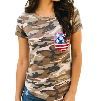 TOOPOOT Women's Camouflage American Flag Pocket T-shirts Blouse