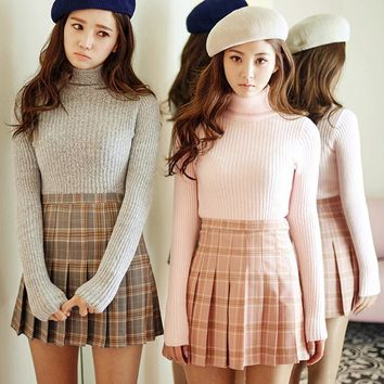 2017 New Spring high waist ball pleated Plaid a-line sailor skirts Harajuku Tutu skirt Large Size Japanese school uniform