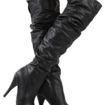 Wild Diva Women Boots Over the Knee Thigh High Heel Black Platform CHARLOTTE-01