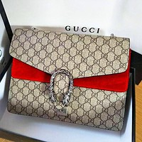 Gucci Fashion Lady Alcoholic Single Shoulder Bag Red