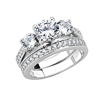 Classic Love Story - Women's Rhodium Plated Trio Stone Clear CZ Wedding Set