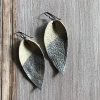 Leather Leaf Earring, Hypoallergenic, Silver leather feather, Beige leather, dangle design, silver foil, allergy free ear wire