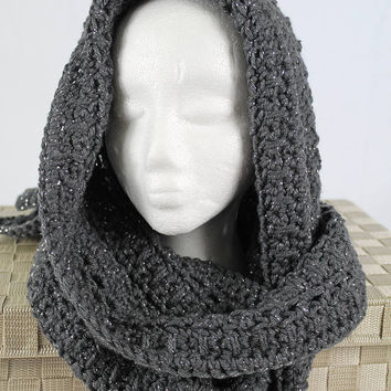 Handmade Hooded Scarf - Crochet Scarf -  Women or Teen - Gray Sparkle - Celtic Pattern Hoodie