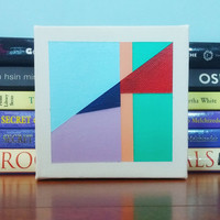 Geometric Tiny Canvas Wall Art Modern Acrylic Abstract Painting Original Minimalist Contemporary Painting OOAK Home Decor