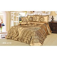 DaDa Bedding Shiny Golden Sateen Luxury Floral Puffy Ruffles Comforter Set - 6-Pieces (BM4578)