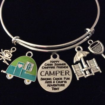 Love Camp Life Happy Camper Jewelry Camping Adjustable Bracelet Expandable Silver Charm Bangle Camp Fire
