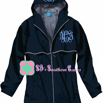 Monogrammed TRUE NAVY Rain Jacket , Rain Jacket with FREE Monogramming