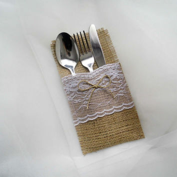 Burlap wedding rustic burlap and lace silverware holder  set of 10 wedding decor