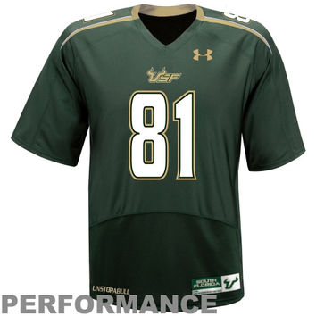 Under Armour South Florida Bulls #81 Youth Replica Football Team Jersey - Green - http://www.shareasale.com/m-pr.cfm?merchantID=7124&userID=1042934&productID=555880156 / South Florida Bulls