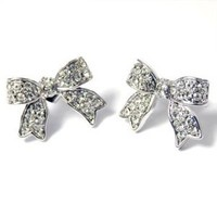 I'm A Cute Little Princess Ribbon Pave' Earrings (Clear Crystals): Jewelry: Amazon.com
