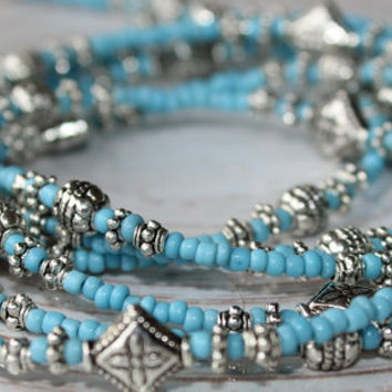 Turquoise Blue and Silver Beaded Wrap Bracelet, Turquoise Jewelry, Beaded Wrap Bracelet or Anklet, Surfer Jewelry, Long Turquoise Necklace