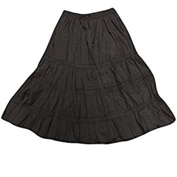 Mogul Womens Long Skirts Black Lacework Crinkle Flirty Flare Gothic Vintage Skirts