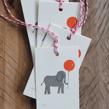 Party Elephant Gift Tags, Set of 10