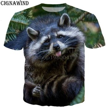New arrival Cute Raccoon Puppy Animals t shirt men/women 3D printed t-shirts Short sleeve Harajuku style tshirt streetwear tops