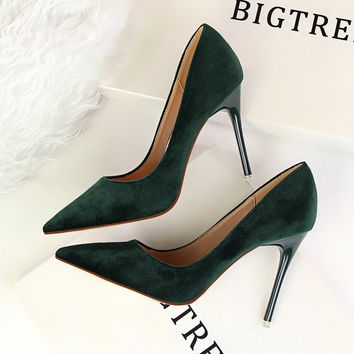 2017 New Women Elegant Pumps Ladies Fashion Thin Office Heels Sexy Shallow Mouth Pointed Flock Suede High-heeled Shoes G2617-5