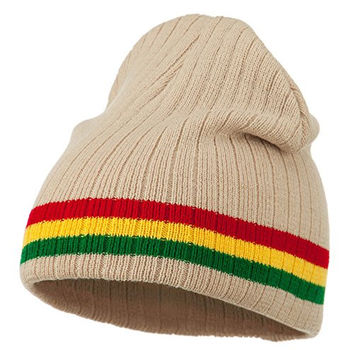Center Striped Rasta Short Beanie - Khaki OSFM