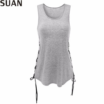SUAN 2017 Fashion New Summer Women T-Shirts Tumblr Blusa Clothes O-Sleeveless Tops & Tees AAAAA Cotton Solid Stretchable Elastic