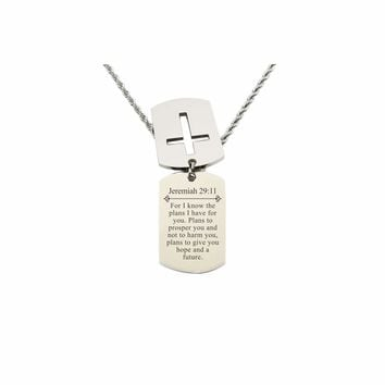 Mens Scripture Double Tag Necklace - Jeremiah 29:11